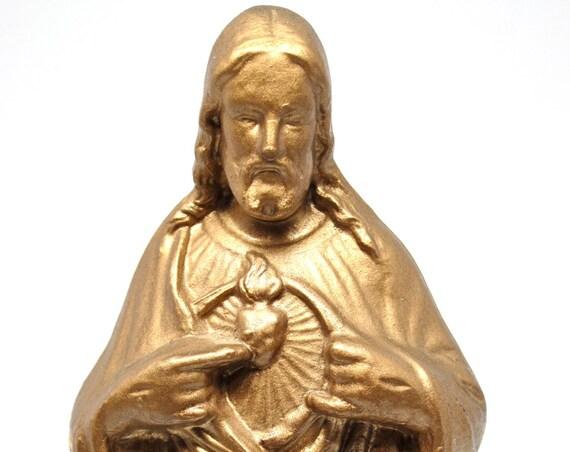 Vintage Chalkware Jesus Gold Religious Idol Scared Heart Catholic Statuary Christ Icon Figurine