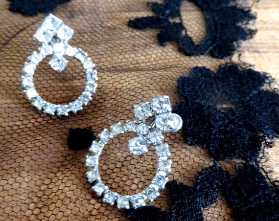Rhinestone Earrings Vintage Hoops Crystal Wedding Jewelry Screw back Earrings 1960s