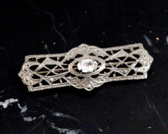Sterling Brooch Victorian Style Vintage Bar Pin Filigree Faux Diamond 1980s