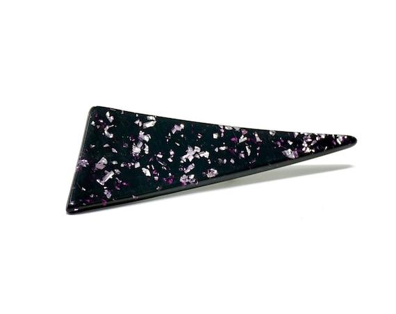 Vintage Lucite Confetti Pin Atomic Triangular Brooch Deep Purple Black Silver Glitter 1950s Rare Costume Jewelry
