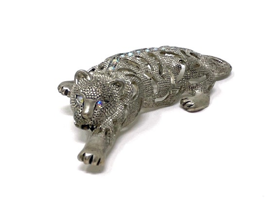 Vintage Tiger Brooch Marcasite Silver Wildcat Pin Aurora Borealis Crystal Eyes Spine Jungle Cat Costume Jewelry 1980s Art Deco Large Brooch