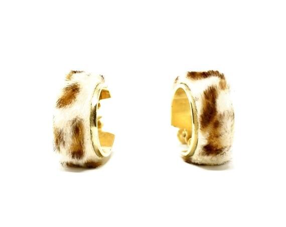 Vintage Earrings Leopard Fur Hoops Gold Toned Screw Back Wide Hoop Earring Covered in Faux Leopard Printed Rabbit Fur 1960s