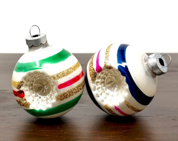 Vintage Ornaments White Glass Balls Indent Striped Gold Glitter Bright Pink Blue and Green Red Stripes Pearly White Balls 1960s Trim