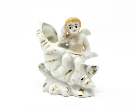 Vintage Cherub with Shell Tiny Vase Ceramic White with Gold Blonde Cupid Figurine
