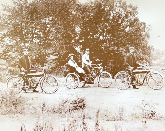 Antique Photo Motorcycle Early Indian Motorcyclists 1910s Large 11 x 14 Sepia Photo 1909 Indian Light Twin Cycle Men Girl in Sidecar Vermont