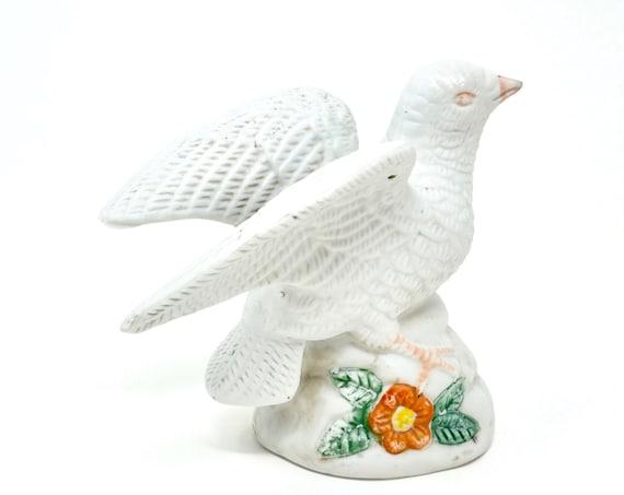 Vintage White Dove Figurine Bisque  Porcelain White Bird on Rock with Orange Flower Distressed Porcelain Peace Bird Figurine
