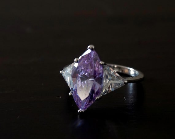 Vintage Purple Ring Violet Cubic Zirconia Marquise Cut Flanked By Triangle Cut Clear Cubic Zirconia Faux Diamonds Silver Thin Band Size 8