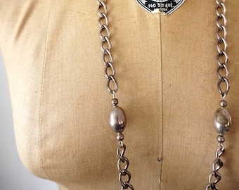 """Vintage Silver Chain Necklace Silver Beads Hollow Oblong Shape Large Links Twisted Necklace 31"""" Length Long Chain Silver Jewelry with Patina"""