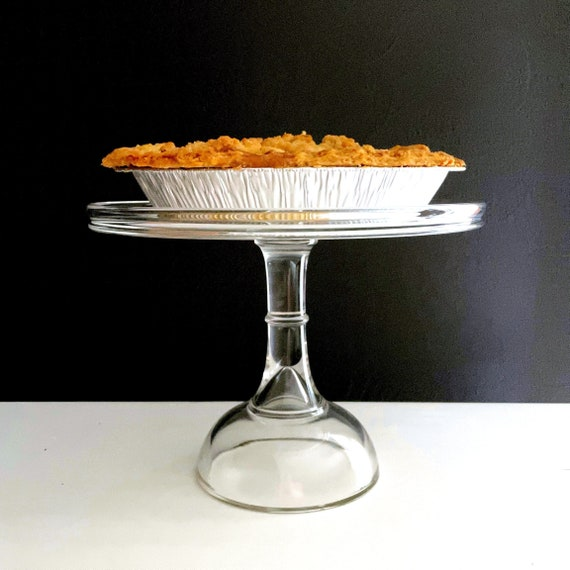 Vintage Cake Stand Clear Glass Dessert Plate on Pedestal Cupcake Stand or Wedding Cake Display Bakery Counter Kitchen Centerpiece