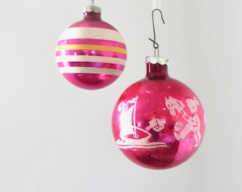 Vintage Shiny Brite Magenta Ornaments White Glitter Toys and Stripes Ball Pink Christmas Ornament