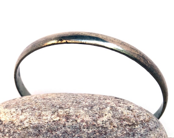 Vintage Silver Bangle Taxco Thin Smooth Bracelet Women's Jewelry Plain Simple Bracelet Silver Mexican Jewelry Unpolished with Patina