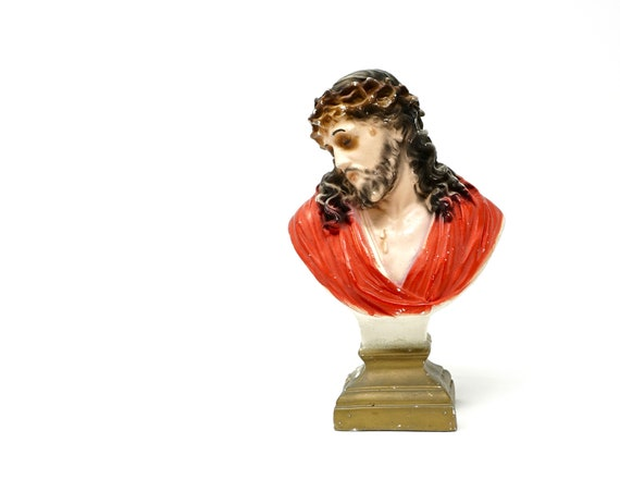 Vintage Jesus Chalkware Bust Statue Catholic Religious Chalk Ware Statuary Crown of Thorns Holy Christ of Agony