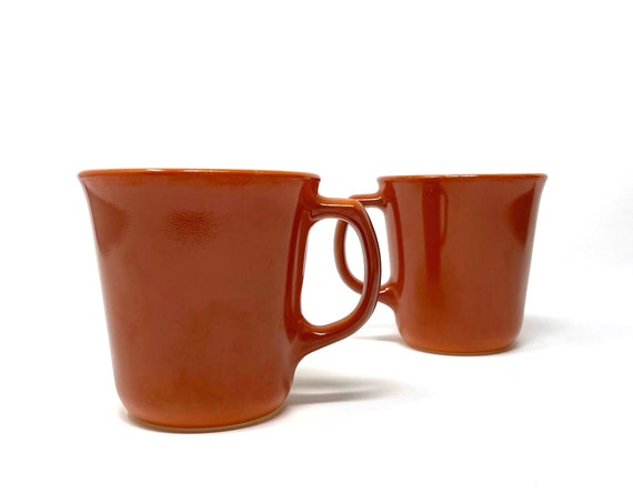 Vintage Pyrex Mugs Orange Glass White Interior 80s Rust Brown Coffee Cups w/ Handles Corningware Pyrex Glass Oven Proof Microwave Safe Pair