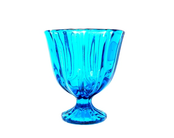 Vintage Turquoise Glass Compote Viking Glass Co. L.E. Smith Bluenique Blue Swung Glass Candy Dish Pedestal Base Heavy Think Fluted Art Glass