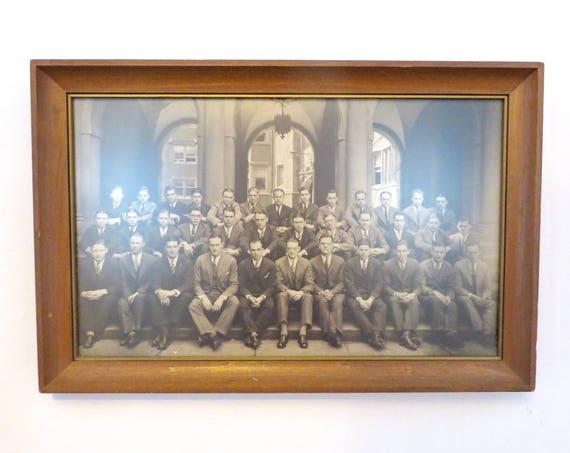 Vintage Photograph 1920s Fraternity Photo Theta Delta Chi University of Pennsylvania Framed Group Pledges on UPENN Campus