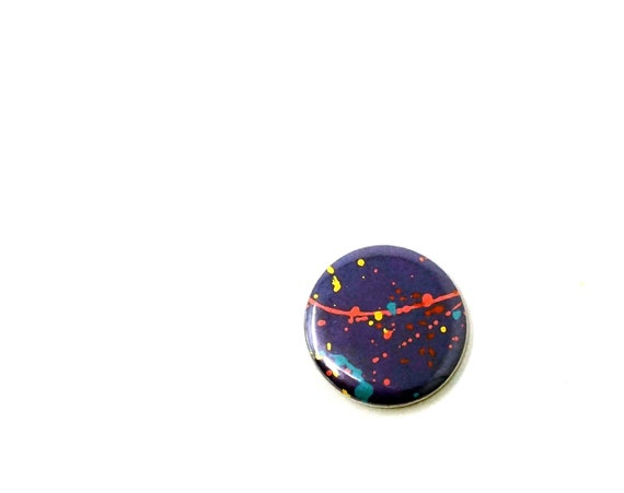 Vintage Splatter Paint Button Purple 80s Pinback Rainbow Drip Paint Pin Pollack Inspired
