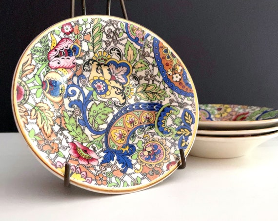 Vintage Small Bowls Paisley Pattern Chintz by Alfred Meakin Tiny Bowl Set of 4 Made in England All Over Pattern China Multicolor Gold Rim
