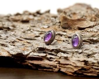 Vintage Amethyst Earrings Silver Set Oval Small Polished Purple Stone Cabochons Silver Beaded Border Pierced Earrings