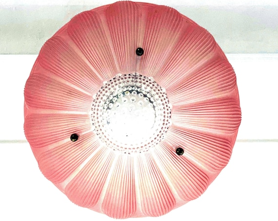 Vintage Glass Shade for Ceiling Fixture Art Deco Style Sunflower Pink Frosted Glass Molded Clear Hobnail Center 3 Holes For Hanging Chains