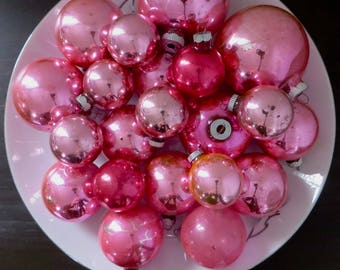 Vintage Pink Christmas Balls Lot of Mid Century Shiny Brite USA Ornaments Assorted Sizes & Rose Hues
