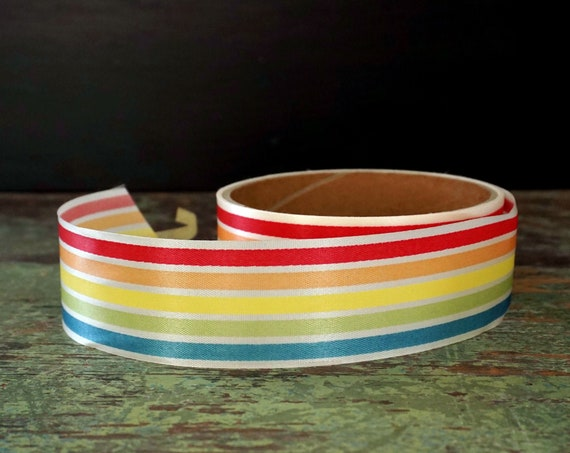 "Vintage Rainbow Ribbon Roll Salvaged Over 130"" Ribbon Length White Colorful Stripe 70s Stiff Satin Finish Ribbon 1.5"" Wide Ribbon 3 Yard +"