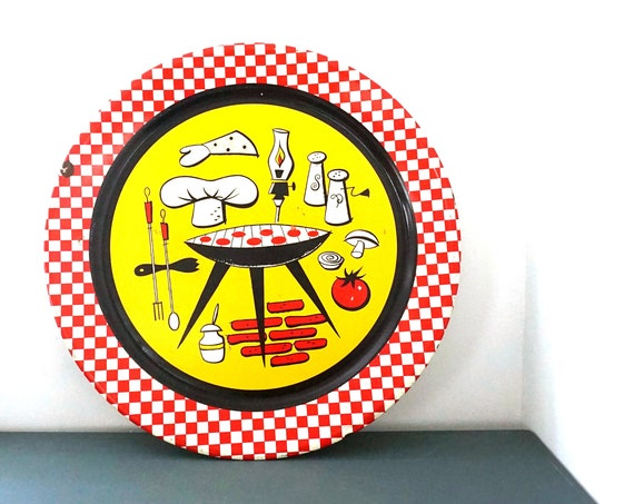 Vintage Grilling Tray Barbecue Plaque Metal Yellow Red Black Painted Platter Summertime Grill Theme Mid Century Outdoor Man Cave
