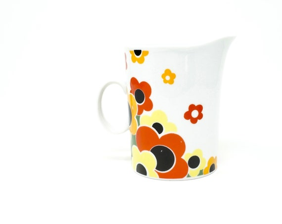 Vintage Creamer Mod Floral Bold Red Orange Yellow Black Daisy Print White Ceramic Cream Pitcher Poland 1960s Groovy Retro Mug Shaped Creamer