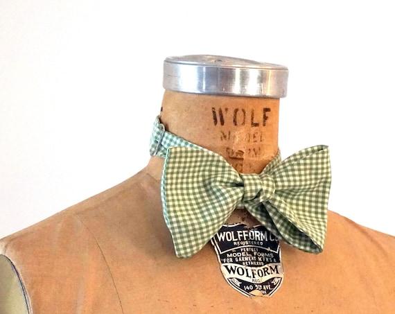 Vintage Bow Tie Gingham Green White Tie Robert Talbott Necktie for Wedding Formal Attire Spring Menswear Small Check Print Bowtie