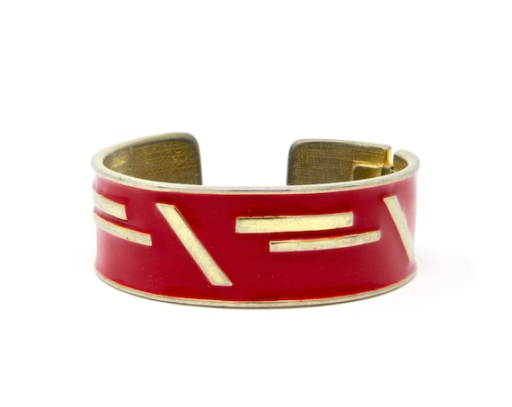 Vintage Red Cuff Bracelet Enamel Gold Toned Abstract 1980s