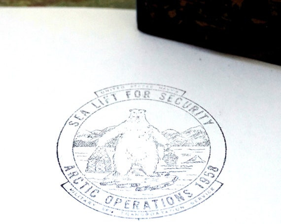 Vintage Rubber Stamp Arctic Operations 1958 Polar Bear Logo US Navy Sea Lift For Security Military And Transportation Service Rare Ink Stamp