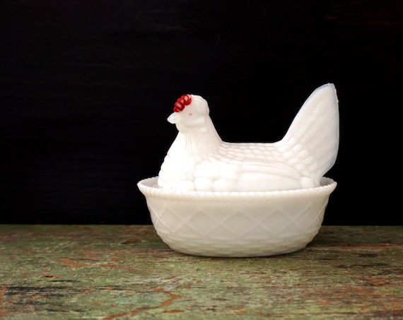 Vintage Hen Milk Glass Covered Dish Chicken on Nest Westmoreland White Hen Red Coxcomb Eyes Split Tail Chicken Lattice Nest 1950s Farmhouse