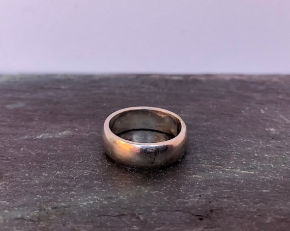 Vintage Sterling Band Silver Ring Simple Wedding Band Thick Men's or Women's Ring Size 5.75 or 5.5 Classic Band Ring Unisex Jewelry Patina