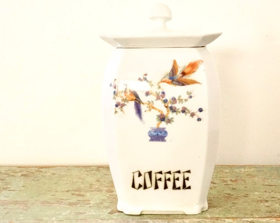 Vintage 1920s Canister Deco Labeled Coffee White Porcelain Jar with Lid Birds of Paradise Victoria F.C.Co. Czechoslovakia Coffee Bean Holder