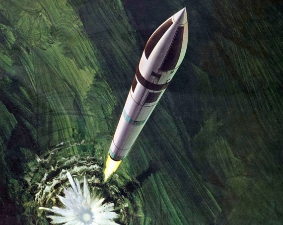 Vintage Oleg Stavrowsky Print Polaris 1965 Ballistic Missile Painting Green Abstract Background Print By 3m Co. 1960s Sci-fi Art Rare Print