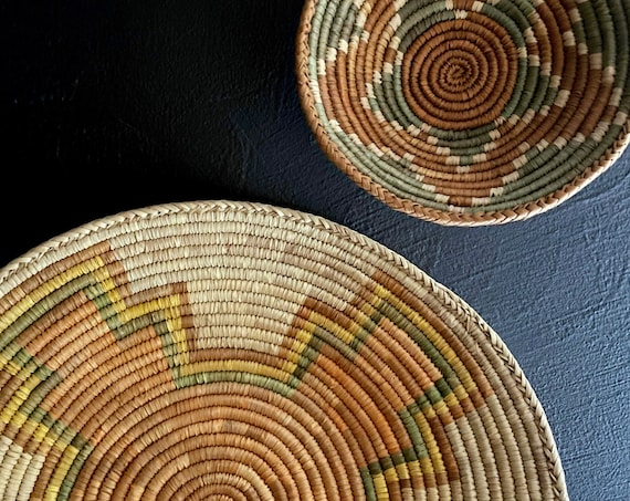 Vintage Baskets Wall Hangings Set of 2 African Basket Bowls Woven Round Trays Muted Earth Tones Boho Decor Countertop Storage Display