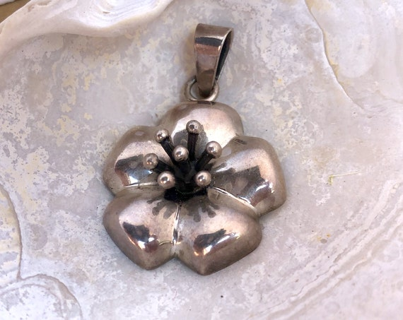 Vintage Flower Pendant Sterling Silver Hibiscus Necklace or Dogwood Flower CII Mexico Handcrafted Hollow 925 Mexican Jewelry