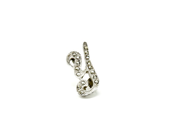 Vintage Y Initial Pin Rhinestone Silver Toned Metal Small Brooch Letter Y Tie Tack