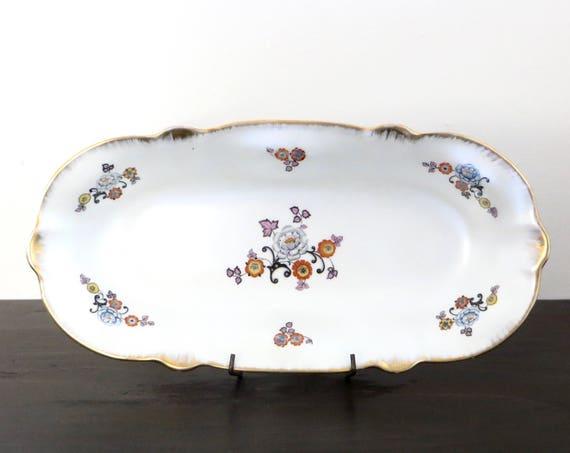 Vintage Serving Platter 1930s Arzberg Bavaria German China Iridescent Tiny Floral Gold Rim
