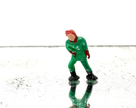 Vintage Boy Miniature Winter Scene Snow Ball Fight Figurine Walter Merten Tiny Plastic Kid Green Red Mittens Hat Figure Made in Germany