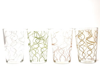 c4053c5dec7 Vintage Squiggle Glasses Drinking Tumblers Juice Glass Set of 4 Spaghetti  Glasses 50s Pink Squiggle Yellow Green Grey Mid Century Glassware