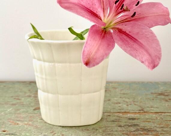 Vintage Vase Gio Ponti Richard Ginori S Cristoforo 1930s Milan Italy Vase Off White Grid Design Flared Rim Vessel Cream Italian Pottery Rare