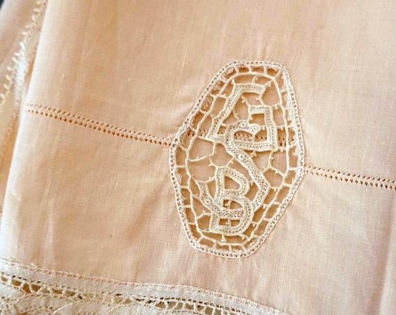 Antique Linen Tea Towel Two Headed Serpent and Monogram GB Open Crochet Lace Off White Trim Blush Guest Towel Peach Hemstitch Napkin 1900s