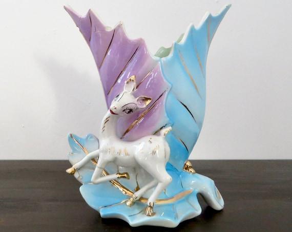 Vintage Deer Vase 1950s Porcelain Lavender Aqua Leaf Shape Vase with Gold and White Dear