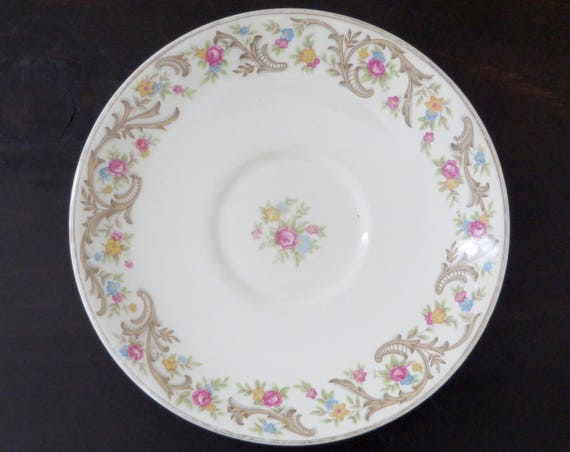 VIntage Saucers 1940s Floral China Taylor Smith Taylor Pink Roses Brown Scrolls