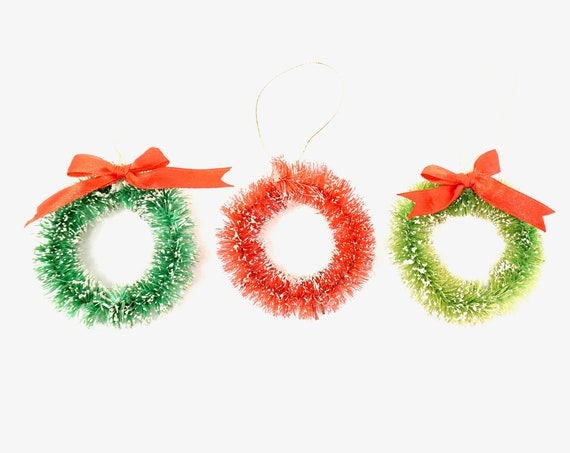Vintage Bottle Brush Wreath Ornaments Green Red Ribbon Bright Green or Red Classic Retro Holiday Ornament Crafting Supply Christmas Scene