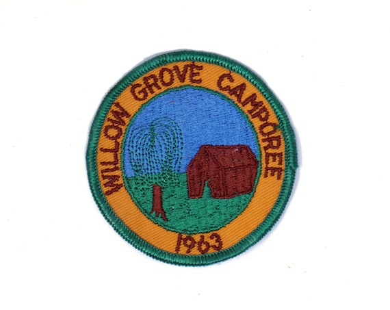 Vintage Scout Badge Willow Grove Camporee 1963 Girl Scouts of America Regional Camping Event Allons Tennessee Campground Sew on Patch Sash