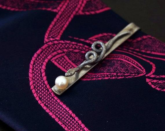 Vintage Snake Tie Bar Cultured Pearl Silver Serpent Necktie Bar Rockabilly Tie Clip 1950s Men's Accessory Rare Mid Century Men's Jewelry