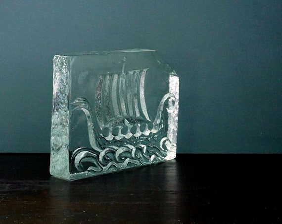 Vintage Viking Ship Glass Block Iceberg Large Clear Paperweight Langskip Art Glass Possibly Uno Westerberg Pukeberg Glasbruk Nybro Sweden