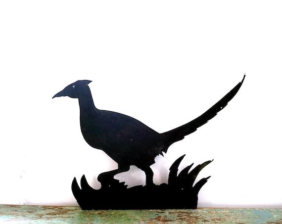 Vintage Pheasant Silhouette Metal Black Bird Sign Cast Iron Cut Out Game Bird Yard Art Lawn Ornament Fence Barn Wall Decor Indoor Outdoor