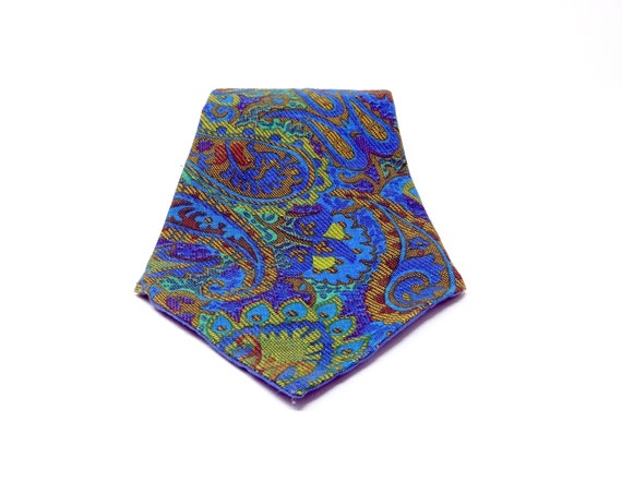 Vintage Paisley Tie Very Wide Necktie Greens Purple Blues Bold Statement Tie Hand Made 1960s Cotton Brocade All Over Pattern Tie OOAK